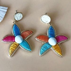 Straw and Thread Flower Earring